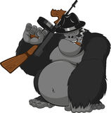 Scimmia con le pistole royalty illustrazione gratis