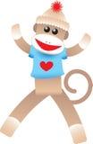 Scimmia del calzino del biglietto di S. Valentino Fotografia Stock