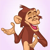 Scimmia del fumetto che sorride e che ride Illustrazione di vettore della mascotte del carattere dello scimpanzè immagini stock libere da diritti