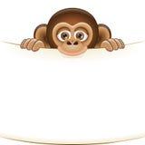 Scimmia del fumetto che tiene un foglio bianco di carta Illustrazione di Stock
