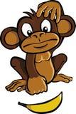 Scimmia del fumetto con la banana fotografie stock libere da diritti