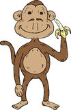 Scimmia del fumetto con una banana Fotografia Stock Libera da Diritti