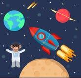 Scimmia dell'astronauta nello spazio con la nave del razzo illustrazione vettoriale