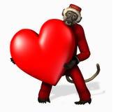 Scimmia di amore - con il percorso di residuo della potatura meccanica royalty illustrazione gratis