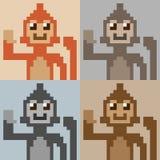 Scimmia di arte del pixel dell'illustrazione immagine stock