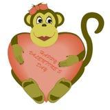Scimmia di giorno di biglietti di S. Valentino Immagine Stock Libera da Diritti