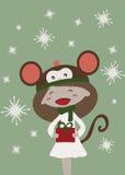 Scimmia di natale felice illustrazione di stock