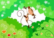 Scimmia di salto felice Fotografie Stock