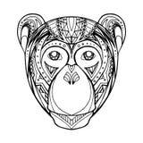 Scimmia di scarabocchio dell'illustrazione e modello di boho Fotografie Stock Libere da Diritti