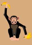 Scimmia divertente con l'illustrazione di vettore delle banane Fotografie Stock