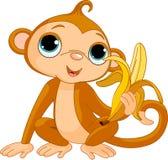 Scimmia divertente con la banana Immagine Stock