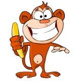 Scimmia divertente con la banana Fotografia Stock
