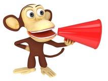 scimmia divertente 3d con l'altoparlante rosso enorme illustrazione vettoriale