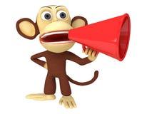scimmia divertente 3d con l'altoparlante rosso enorme royalty illustrazione gratis