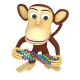 scimmia divertente 3d con la catena del DNA Immagine Stock Libera da Diritti