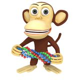 scimmia divertente 3d con la catena del DNA Immagini Stock Libere da Diritti