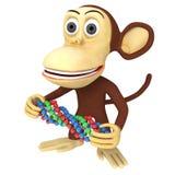 scimmia divertente 3d con la catena del DNA Fotografia Stock