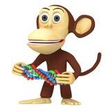 scimmia divertente 3d con la catena del DNA Fotografie Stock Libere da Diritti