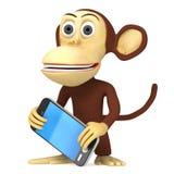 scimmia divertente 3d con lo Smart Phone Fotografia Stock Libera da Diritti