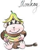 Scimmia divertente di vettore dell'acquerello royalty illustrazione gratis