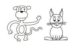 Scimmia e coniglio Fotografie Stock