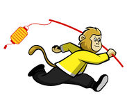 Scimmia e lanterna illustrazione di stock