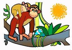 Scimmia ed il suo bambino, libro da colorare illustrazione vettoriale