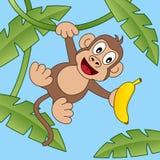 Scimmia felice del fumetto con la banana Immagine Stock