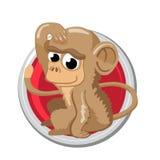 Scimmia L'oroscopo di Oriente firma dentro il cerchio Simbolo cinese Immagine Stock Libera da Diritti