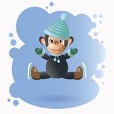 Scimmia sui pattini in un vestito nero Fotografie Stock Libere da Diritti