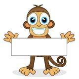 Scimmia sveglia con il segno in bianco Immagine Stock Libera da Diritti