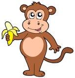 Scimmia sveglia con la banana illustrazione di stock