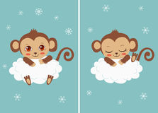 Scimmia sveglia del bambino su una nuvola che dorme e con i grandi occhi Carta di vettore del fumetto Fotografie Stock Libere da Diritti