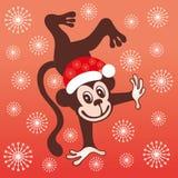 Scimmia sveglia del fumetto Nuovo anno, natale Immagini Stock Libere da Diritti