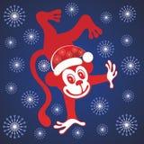 Scimmia sveglia del fumetto Nuovo anno, natale Immagine Stock
