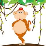 Scimmia sveglia della ragazza Immagine Stock