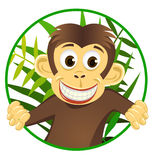 Scimmia sveglia nel cerchio Fotografia Stock