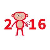 Scimmia sveglia Nuovo anno 2016 Illustrazione del bambino Cartolina d'auguri Priorità bassa bianca Progettazione piana Immagine Stock Libera da Diritti
