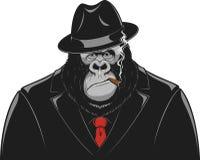 Scimmia in un gangster del vestito illustrazione di stock