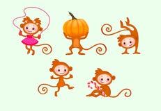 Scimmie divertenti impostate Fotografia Stock Libera da Diritti