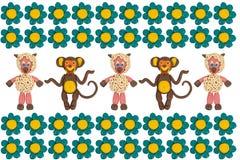 Scimmie e pecore in fiori Immagini Stock Libere da Diritti