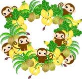 Scimmie graziose - corona della banana e della noce di cocco Fotografie Stock Libere da Diritti