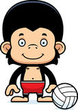 Scimpanzè sorridente del giocatore di beach volley del fumetto Fotografia Stock Libera da Diritti