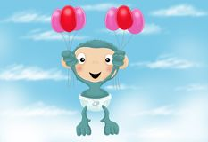 Scimpanzé del bambino con gli aerostati Fotografia Stock Libera da Diritti