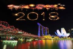 Scintilla con il ponte dell'elica, urba del fuoco d'artificio da 2018 buoni anni Immagine Stock Libera da Diritti