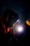Scintilla degli impianti del saldatore Fotografia Stock