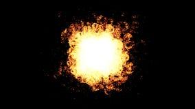 Scintilla del fuoco di esplosione sul nero video d archivio