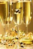 Scintilla dorata del champagne Immagini Stock Libere da Diritti