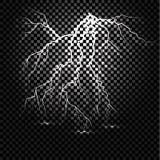 Scintilla leggera di tuono del folgore su fondo trasparente Fotografia Stock