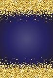 Scintilla verticale di luccichio dell'oro sul vettore 2 del fondo del blu reale Fotografie Stock